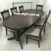 Розкладний стіл Ст-9 зі стільцями з масиву бука горіх