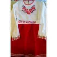 Сукня вишита для дівчинки  ''П'ять троянд''  (машинна   вишивка)