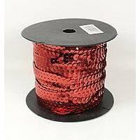 Пайетки  на нитці (червоний  колір) 0.6см.