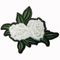 Термоаплікація клейова   ''Троянда 2 бутони  білі''