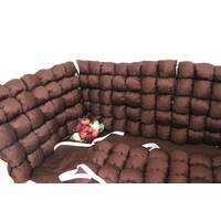 Бортики бомбон в кроватку в коричневых тонах