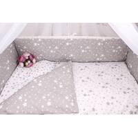 Тонкие бортики защита в кроватку звёзды белые с серым