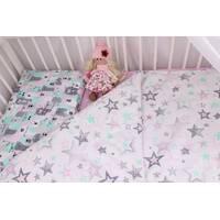 Комплект постільної білизни в ліжечко ведмедика сіро-м'ятно-рожевий