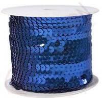 Пайетки  на нитці (синій  колір) 0.6см.