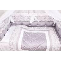 Набор в детскую кроватку серый с белым кружевом