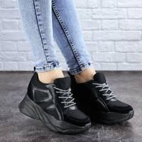 Женские стильные черные кроссовки на танкетке Misifu 2070 (38 размер)