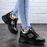 Женские стильные черные кроссовки на танкетке Wilson 2085 (38 размер)
