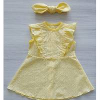 Платье с повязкой батист ТМ Happy Tot 68, Желтый