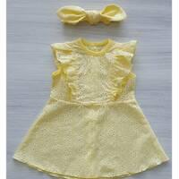 Платье с повязкой батист ТМ Happy Tot 74, Желтый