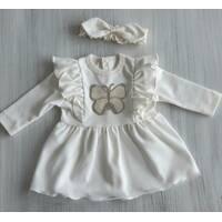 Платье с крылышками интерлок ТМ Happy Tot 74, Молочный