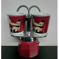 Подарочный набор Bialetti Set: гейзерная кофеварка Mini Express (2 cup) + 2 кофейных стаканчика Red