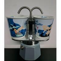 Подарочный набор Bialetti Set: гейзерная кофеварка Mini Express (2 cup)+2 кофейных стаканчика Green