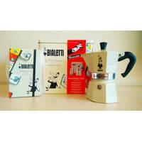 Подарочный набор Bialetti Carosello - гейзерная кофеварка Moka Express Color (3 cup) + блокнот