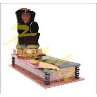 Модель одинарного памятника с медальоном и сердцем №23