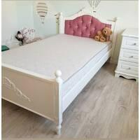 Детская подростковая кровать Валери из дерева с мягким изголовьем