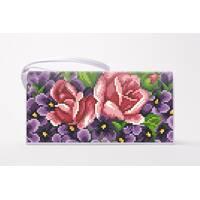 Набор для вишивки нитками Барвиста Вишиванка заготівлі зшитого клатча Фіалки і троянди (КЛ179лБ1301i)