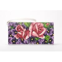 Набор для вишивки нитками Барвиста Вишиванка заготівлі зшитого клатча Фіалки і троянди (КЛ179шМ1301i)