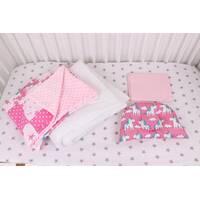 """Комплект в коляску для новонародженого  """"Яскраві Однороги"""" в рожевому кольорі"""