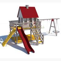 Лаундж дитячий вуличний комплекс з будиночком і гойдалками на палях
