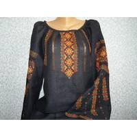 Гуцульська вишиванка жіноча  на чорному льоні . ручна робота
