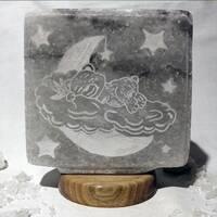 """Соляной светильник """"Мишка на облаке (гравировка) 3,4-4,5 кг SALIERY"""""""