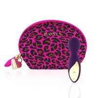 Міні вібромасажер Rianne S : Lovely Leopard Purple, 10 режимів роботи, косметичка-чохол