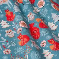 Ткань для штор, салфеток, подушек, скатертей Зима, животные красный на синем фоне