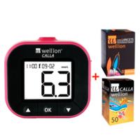 Акционный набор прибор глюкометр WELLION Calla Light blackberry + тест-полоски 50 шт. + ланцеты 50 шт.