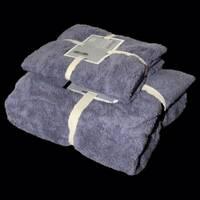 """Подарунковий набір з двох махрових рушників (банячи і особу) """"Сірий"""""""