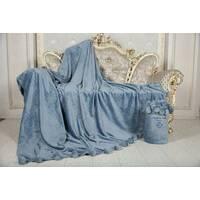 Велюровий плед покривало з помпонами євро 200х230 см Серо-синний