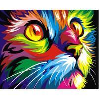 STK Картина по номерам Радужный кот, цветной холст, 40*50 см, без коробки Barvi