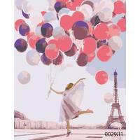 STK Картина по номерам Париж, девушка с шариками, цветной холст, 40*50 см, без коробки Barvi