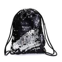 STK Рюкзак-мешок  для сменки в паетках (черный-серебро)