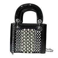STK Чорна лакова сумка з перлами