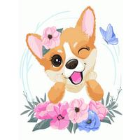 """STK Картина по номерам """"Собачка с цветами"""" для детей в коробке, 30*40 см"""