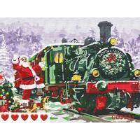 STK Картина по номерам Новогодний поезд, Санта, цветной холст, 40*50 см, без коробки, ТМ Barvi+ ЛАК