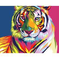 STK Картина по номерах в коробці, 40*50 см, Brushme. Веселковий тигр