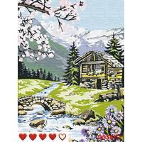 STK Картина по номерах Будиночок в горах, кольорове полотно, 40*50 см, без коробки Barvi