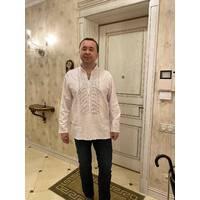 полтавська вишиванка білим по білому чоловіча . ручна робота