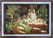 """Картина из янтаря """"Волк и волчица"""" 40х60 см"""