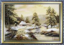Картина зими із бурштину 40х60 см
