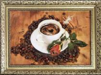 """Картина из янтаря """"Кофе и роза"""" 20х30 см"""