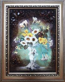 """Натюрморт із бурштину """"Квіткова композиція"""" 15х20 см"""