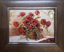 """Картина із бурштину """"Натюрморт із маками"""" 15х20 см"""