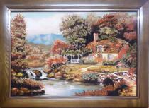 """Картина із бурштину """"Затишний будинок"""" 60х80 см"""
