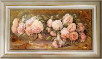 """Картина із бурштину """"Піони"""" 30х60 см"""