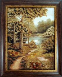 """Картина із бурштину """"Лісове озеро"""" 30х40 см"""