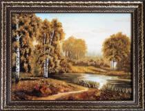 """Картина із бурштину """"Озеро в лісі"""" 30x40 см"""