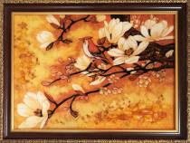 """Картина з бурштину """"Сакура"""" 30х40 см"""