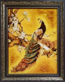"""Картина из янтаря """"Павлины"""" 35х50 см"""